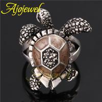 Ajojewel Brand Jewelry 18K White Gold Plated Animal Design Turtle Ring Jewelry