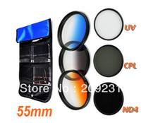 Free shipping High Quality 55mm 55mm Gradual Orange Blue Gray+ UV+ND4+CPL Lens Filter Kit+free bag