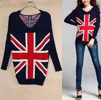 2014 Autumn Long Sleeve Women Knitted Cardigan UK Flag Pattern Sweater Casual V-Neck Women Plus Size Pullover British flag coat