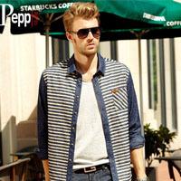 2014 New Slim Luxury Stylish Denim Shirt For Men/Boy 100% Cotton Leisure O-neck Shirt Striped Long Sleeve Shirts M,L,XL,XXL,XXXL