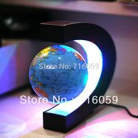 Free Shipping Novelty Magnetic Levitation Floating Globe With LED C Shape Base Good Gift For Cristmas
