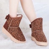 Leopard print Women boots autumn and winter snow boots warm cotton shoes elevator