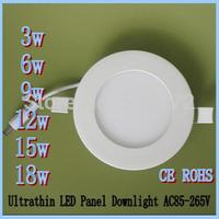 Free shipping 2pcs/lot,Ultrathin 3W4W6W9W12W18W24W Round Led Ceiling Panel Down Light Warm White SMD2835 85-265V indoor lighting