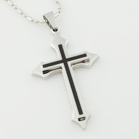 Silver&Black Stainless Steel Crucifix 316l Necklace,Cool men cross pendants for jewelry,New Trendy style,Retail+Wholesale,VP676
