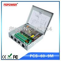 60W 9CH 12V 5A CCTV accessories CCTV camera power supply box, CE/RoHS/FCC/IEC & 2-year warranty