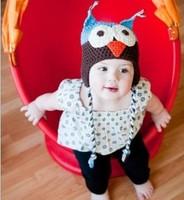 Free Shipping Toddler Baby Autumn Winter Ear Flap Owl Cotton Yarn Animal photography Crochet Beanie Photography Handmade Hat/Cap