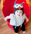 Free Shipping Toddler Baby Autumn Winter Ear Flap Owl Cotton Yarn Animal photography Crochet Beanie Photography Handmade Hat/Cap