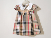 Free shipping retail new 2013 summer girls/baby short-sleeve plaid bow-knot dress princess children dress (size for 1-4 years)