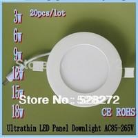 20pcs free shipping Ultrathin panel led 3W 5W 6W 9W 12W 18W Round Led Ceiling Down Panel Light Warm White SMD2835 Led Lighting