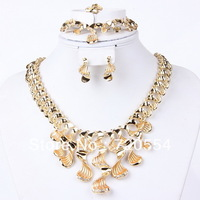 18 K latest design large chunky wave crystal necklace sets dubai gold plated china wholesale jewelry sets free shiping