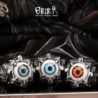 US Size 7-15 Wholesale Skull Evil Eye Ring 316L Stainless Steel Fashion Biker Punk Ring Acrylic Eye FS BR8-036