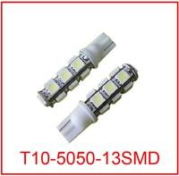 50pcs/lot wholesale White T10 13 SMD led  5050 13smd 13led car side Light Bulb 194 168 W5W LED Wedge Bulbs