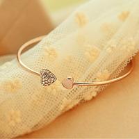 Full Diamond Double Heart Love Opening Gold Female Bracelet