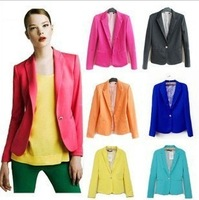 Hot-selling ! 2013 new spring and autumn Women slim blazer Coat fashion outerwear candy color one button blazer slim