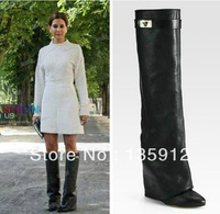 Free shipping wholesale red bottom black leather women over knee boots sexy zipper 12cm heel boots discount price ON SALE!