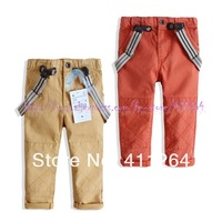 5pcs/lot(1-5Y) kids leisure trousers with suspenders children casual pants with braces cotton pants Free shipping