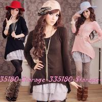 L~3XL Korean Slim Lace Faux Two-piece Long Sleeve Dresses 2014 Autumn Winter Plus Size Women Clothing Pink/Black/Brown 1523