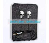 2013 3.5 mm High Performance Metal skull headphone gold and silver Personality earphone In ear headphones