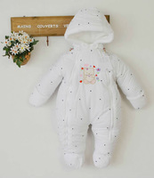 Free shipping 2014 baby girl winter cotton-down romper infant jumpsuit girls suit overalls thick outfits infant bodysuit