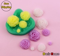 Free shipping 4 rose/ flower Silicone fondant mold Bakeware Decorating Gum Paste Clay Mold