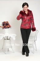 New 2013 women fur collar down winter coat ladies mother coats big size women cotton padded jacket XXXXL XXXL 25