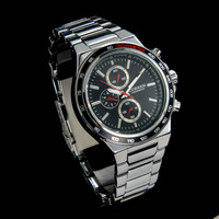 Luxury Fashion  Men Quartz Full Steel  Calendar Wristwatches Black Silver Dress Watch