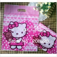 AD086 free shipping 100pcs/lot wholesale 19*26cm hello kitty plastic shipping bag pink gift bags with handle