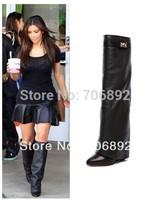 2014 Kim Kardashian SharkLock Fold Over Wedge Boots Brand women genuine leather Knee-High pointed Toe Buckle Boots size 34-42