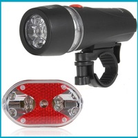 Latest Super Bright Waterproof 5 LED Front Bicycle Light Lamp Bike Flashlight Torch AAA 3 Mode + 9 LED Back Rear Light