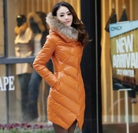 Free Shipping new arrival 2013 winter raccoon fur women's medium-long slim female coat down outerwear  down jacket