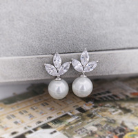 Jewelry platier zirconium leaves natural pearl shell bead zircon stud earring q016