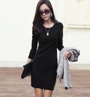 Polleras Falda  women 2014 autumn women's ol long-sleeve  elegant plus size slim one-piece dress fashion  saias