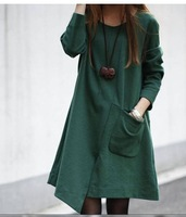 Polleras Falda saias longas femininas Autumn 2014 elegant clothing irregular loose long-sleeve dress slim basic  saias