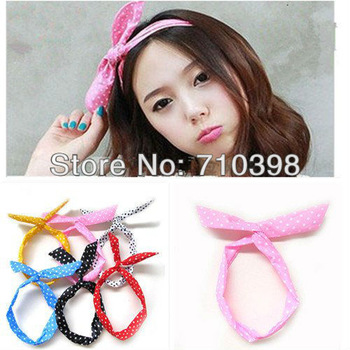 Free shiping,Korea Rabbit Bunny Ear DIY Wire Polkadot Headband Head Hair Band Wrap Headwrap Polka Dot Cute,Mixcolors 30pcs