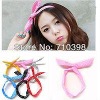 Free shiping,Korea Rabbit Bunny Ear DIY Wire Polkadot Headband Head Hair Band Wrap Headwrap Polka Dot Cute,Mixcolors 30pcs