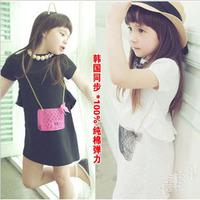 Baby girls dress kids children short sleeve fake bag elegant girl dresses 0705 sylvia 1257764615