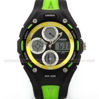 Energy Green Dual Digital LCD Date Day Alarm Rubber Band Young Men Women Unisex Sport Quartz Watch Q5023
