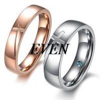 Wholesale Fashion Jewelry  Titanium CZ Diamond Rhinestone Promise New Cross Couple Wedding Lovers Rings
