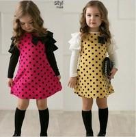 Baby girls dress kids children dot bow long sleeve autumn girl dresses 0728 sylvia 1233