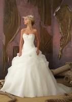 Cheap In Stock Strapless Bridal gown Organza Wedding Dress Court train vestido de noiva Long Wedding dresses casamento