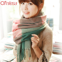 2013 Autumn Winter Long Plaid Knitted Thermal  Designer Scarf Women  Thick Women's Muffler Scarf Cape
