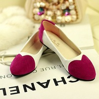 2013 new arrival love shape block decoration low flat pointed toe flat heel shoes comfortable ladies flats + FREE GIFT