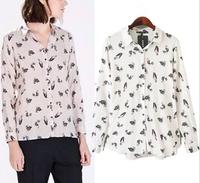 Blusas Femininas 2015 Women Shirts Vintage Cute Cartoon Birds Print OL Blouses Long-Sleeve Turn Down Collar Ladies' Casual Tops