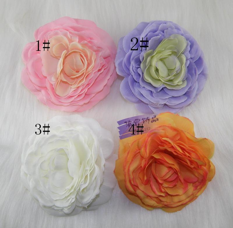 France exposed lotus flower head hair 4pcs/lot trim clip brooch simulation straw slippers flower head bridesmaid 10cm(China (Mainland))