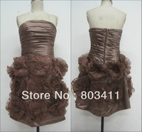 Free shipping Real Photos New Sheath Strapless Knee Length Brown Satin Cocktail Party Dress with Flowers