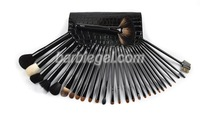 30pcs/Set Professional BLACK High-grade Makeup Cosmetic Brush Set + Leather Case Cosmetic Full Set  Kit# 30b