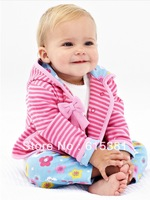 Retail 3 Pcs Baby girl set winter autumn 2013 new cotton striped hooded coat + t shirt +flower pants next baby girls suit pink