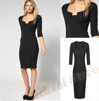 Free shipping 2013 New arrival Womens Pinup Bodycon Fitted Rockabilly Stretch Vintage Party Pencil Dress M LLQ-001