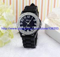 Top sale Women GENEVA Bracelet Imitation Diamond Watch Silicone Heavy Metal Style Rhinestone Jelly Watches 100pcs/lot 3Colors