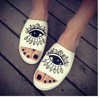 2014 European retro embroidered diamond eyes large base sponge slippers Women wedges slippers